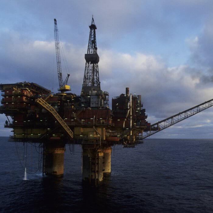 Oil-drilling platform in the Brent Field, North Sea. UN Photo/Exxon Photo [Date unknown] North Sea