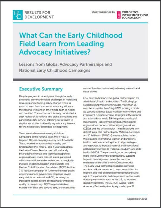 What Can Early Childhood Learn from Advocacy