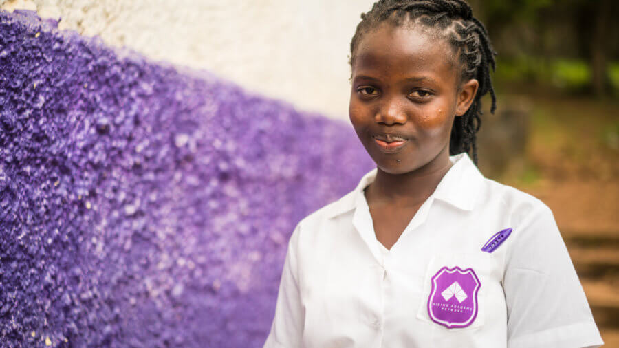 Haja Rogers, 14 years old, is a JSS2 student at Rising Academy Network's Regent school in Freetown, Sierra Leone. ©Results for Development