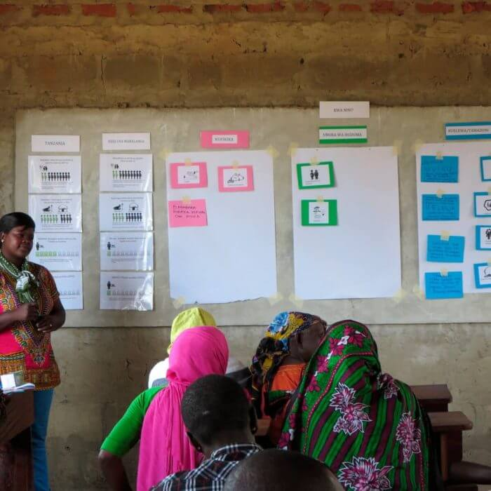 A community-based organization meets in Tanzania